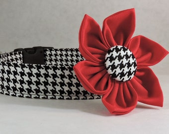 Dog Collar with Flower - Black and White Houndstooth - All Sizes