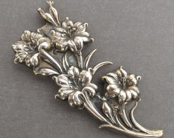 On Sale Antique Sterling Silver Hibiscus Flower Brooch Gardner Silver Company Pin Jewelry