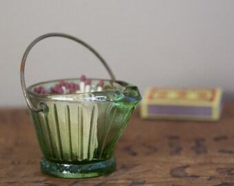 Retro Green Glass Coal Bucket Ashtray, Metal Handle