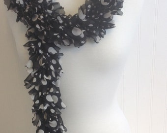 Fabric Sassy Hand Knit Ruffled Scarf Black With White Dots