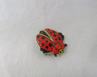 Original 1950's Tin Litho Novelty Red Lady Bug Scatter Pin