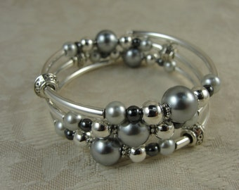 Grey Pearl and Silver Wrap Bracelet