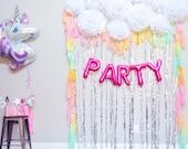 Unicorn Party Tisue Paper Pom Poms, White Pom Poms, Cloud, Party Backdrop, Photo Booth, Party Decorations, pastel Rainbow, Rainbow party