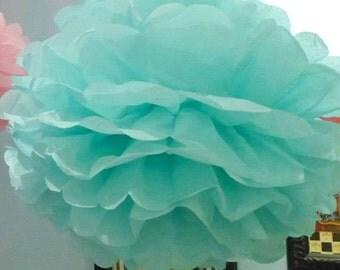 1 Aquamarine Tissue Paper Pom Pom
