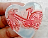 Bicycle Brooch, Bike Pin, Heart brooch, Valentines Day Jewelry, ceramic brooch, Porcelain Pin, red bike pin, Porcelain brooch, pottery pin