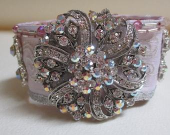 Cuff Bracelet Pink Bride Rhinestone Crystals