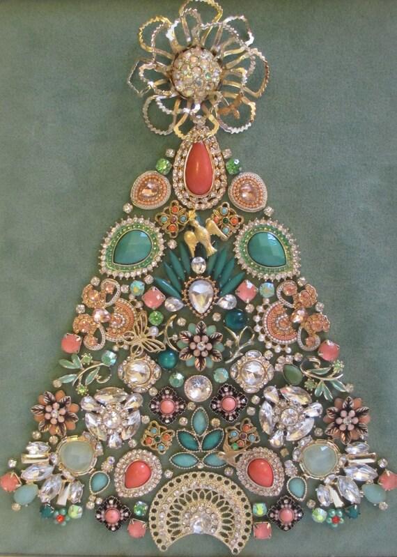 Jeweled Framed Jewelry Christmas Tree Art Deco Pastel Green