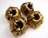 "Antiqued Buds: 3/4"" (19mm) Antiqued Gold Metal Flower Bud Buttons - Set of 4 Vintage New Old Stock Buttons"