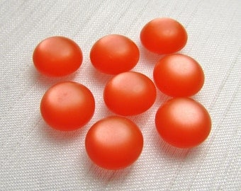 """Glowing Orange: 3/8"""" (9mm) Dome Buttons - Set of 8 Matching Buttons"""