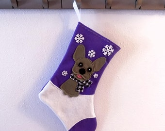 Gray French Bulldog Dog Personalized Christmas Stocking by Allenbrite Studio