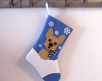 Fawn French Bulldog Dog Personalized Christmas Stocking by Allenbrite Studio