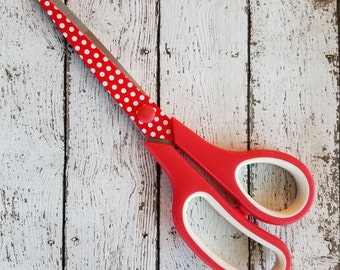 8.5 Inch Red Polka Dot Scissors Comfortable Handle