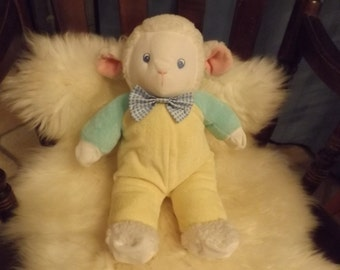 """Sale 16"""" Large  yellow stuffed toy,plush baby sheep ,No holes, no repairs, clean Good gift.Toy by EDEN.Puffy Gift"""