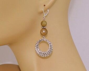 Gemstone earrings, hammered silver dangle earrings, gift for her