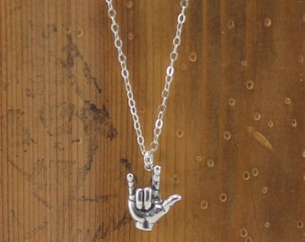I Love You Sign Language Necklace.  Sterling Silver Necklace.  Hypoallergenic Sign Language Necklace.