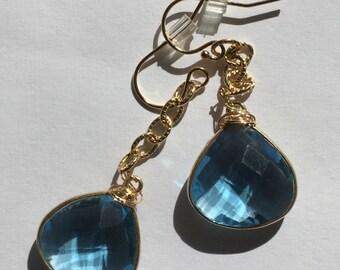 Vermeil Gold Blue Earrings Gold fill Chain, Dangle Drop, Lilyb444
