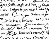 Sew Hope Full Whistler Studios Inspirational 108 inch Quilt Backing Text Fabric by the Half Yard
