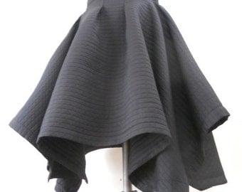 MARIA SEVERYNA - Black Architectural Drape Asymmetric Hemline Full Skirt