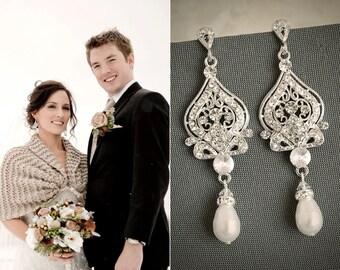 Wedding Earrings, Swarovski Pearl Bridal Earrings, Crystal Rhinestone Chandelier Bridal Earrings, Hollywood Glamour Bridal Jewelry, GRACE