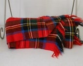 Vtg Wool Throw Red Plaid