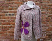 Wool Cardigan Sweater,Cottage Chic Sweater,Eco Sweater,Boho Sweater,by Nine Muses Of Crete