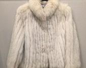 Stunning Silver Fox Fur Coat - Glam Disco Era Retro Winter Snow Bunny Burlesque Hollywood NYC - Size Large