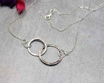 Infinity Necklace Silver Eternity Necklace Mother Daughter Silver Eternity Necklace.