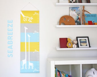 Personalized Canvas Growth Chart - Giraffe Buddies (Available in 3 Colorways!)