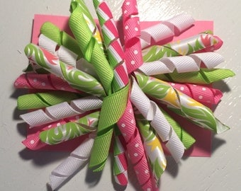 pink, green & white- 4 inch korker bow