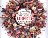 4th of July-Deco Mesh Wreath-Vintage Look- Americana-Patriotic Holiday Wreath- Primitive Antique Look Wreath-Military Wreath-Home Decor-