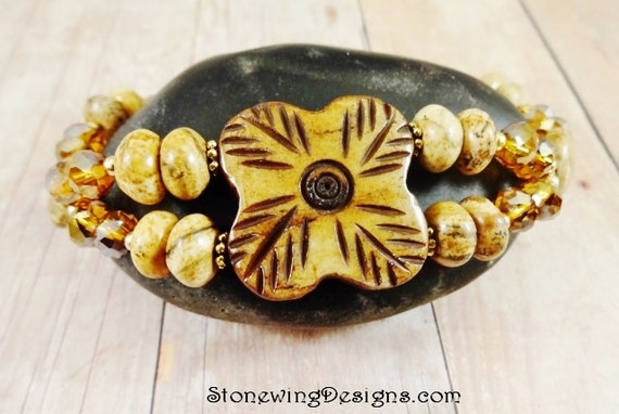 Picture Jasper and Bone Two Strand Bracelet