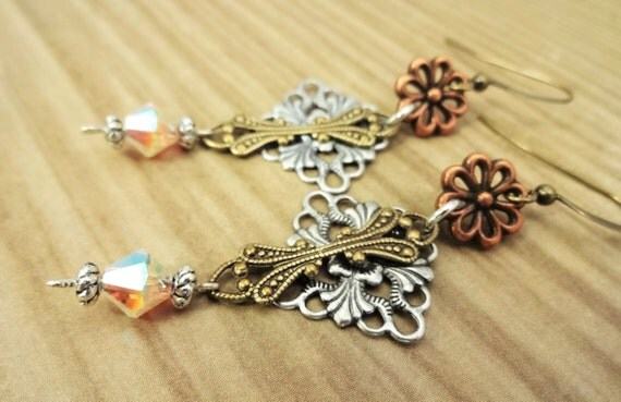 Mixed Metal Earrings with Copper Flower, Silver Filigree, Antique Brass Filigree & Swarovski Crystal