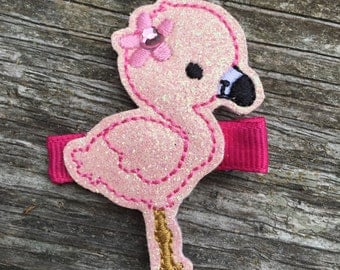 Adorable Pink Glitter Felt Flamingo Hair Clip Babies Toddlers Girls