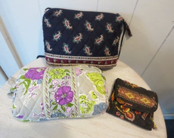 Vera Bradley LOT Indiana Cross Body Bag Wallet Cosmetic Bag