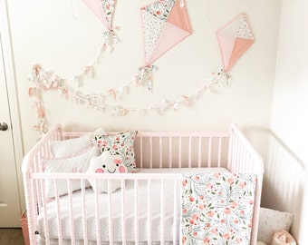 Design Your Own Custom Nusery Bedding and Decor in  Floral Pine by  Ivie Cloth Co. Pom Pom Details // Pillow Covers, Curtains and more!