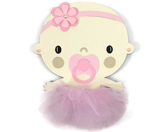 Ballerina die cut, ballerina cut out, tutu die cut, baby girl cut out, baby shower decor, pink tutu cut out, tutu centerpiece, table decor