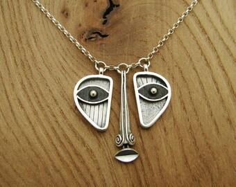 EBONY FACE, triptych necklace