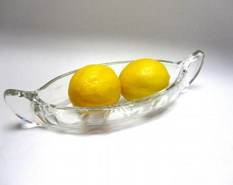 Clear Glass Oval Canoe Sauce Dish