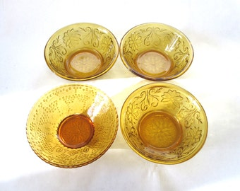 Set Of 4 Amber Glass Bowls Dishes Serving Brown Gold