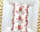 Wool felt hairbows - wool felt pink heart dot - pink glitter fabric  - Ready to ship - pink and white felt - Valentine hairbow