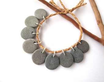 Rock Beads Small Mediterranean Natural Stone River Stone Jewelry Supplies Pairs MISTY GRAY MIX 16-17 mm