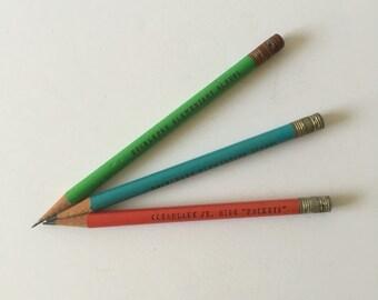 Florida School Wood Pencils, Clearlake Jr. High Rockets, Rockledge Elementary School, Red, Blue, Green