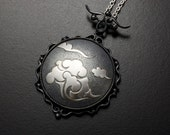 Cloud pattern Keum Boo round silver pendant