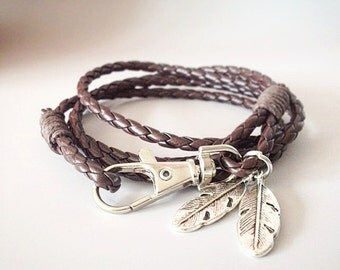 brown leather bracelet leather wrap bracelet biker bracelet unisex men unisex women boyfriend bracelet for her for him