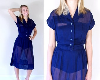 Half Off vtg 50s Navy Blue SHEER pinup PLEATED DRESS Extra Large madmen day dolly bombshell