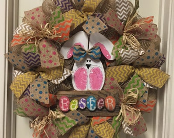 Easter Bunny Wreath, Chevron Burlap Wreath, Easter Wreath, Ready To Ship