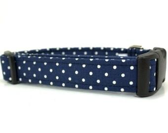 Dog Collar | Navy Blue and White Dot Adjustable Dog Collar | Made to Order | Girl Dog Collar | Boy Dog Collar