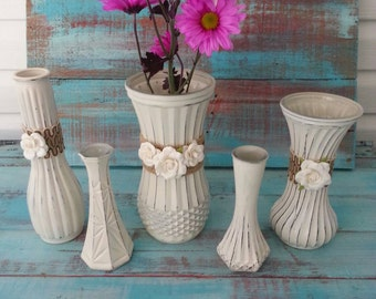 Wedding Vases, Vintage Wedding Vases, Hoosier Glass, Bud Vases, Painted Vases,  Wedding Decor, Vintage Wedding, Shabby Chic Decor