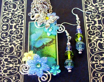 Jewelry Set (S611) Necklace and Earrings, Butterfly Graphic Under Resin Pendant, Flowers, Crystal Dangles, Silver, Baby Blue and Green