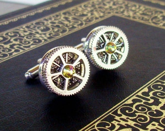 Silver Gear Cuff Link (CF502) - Silver Plated Toggle Style - Luminous Swarovski Crystal